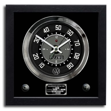 VW Beetle 1500 Black Clock German Quartz Movement