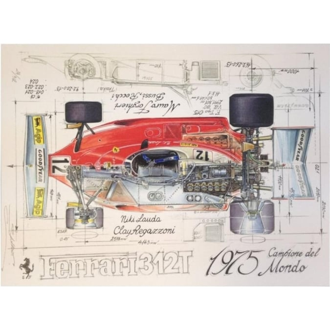 Sebastien Sauvadet Diagram of a Ferrari 312T 1975 - Niki Lauda Clay Regazzoni Print by