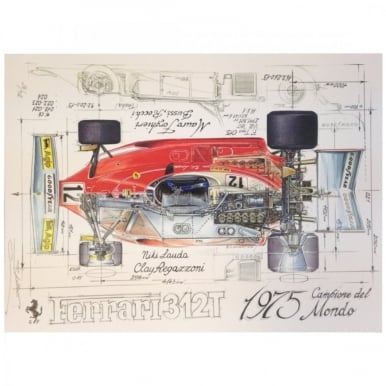 Diagram of a Ferrari 312T 1975 - Niki Lauda Clay Regazzoni Print by Sebastien Sauvadet