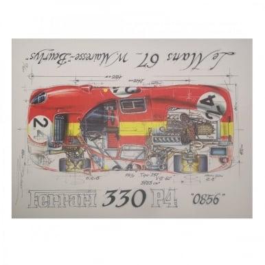 Diagram of a Ferrari 330 P4 Le Mans 1967 Print by Sebastien Sauvadet