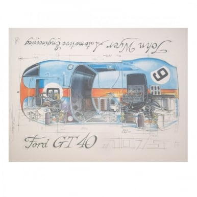 Diagram of a Ford GT40 1075 John Wyer Gulf Print by Sebastien Sauvadet