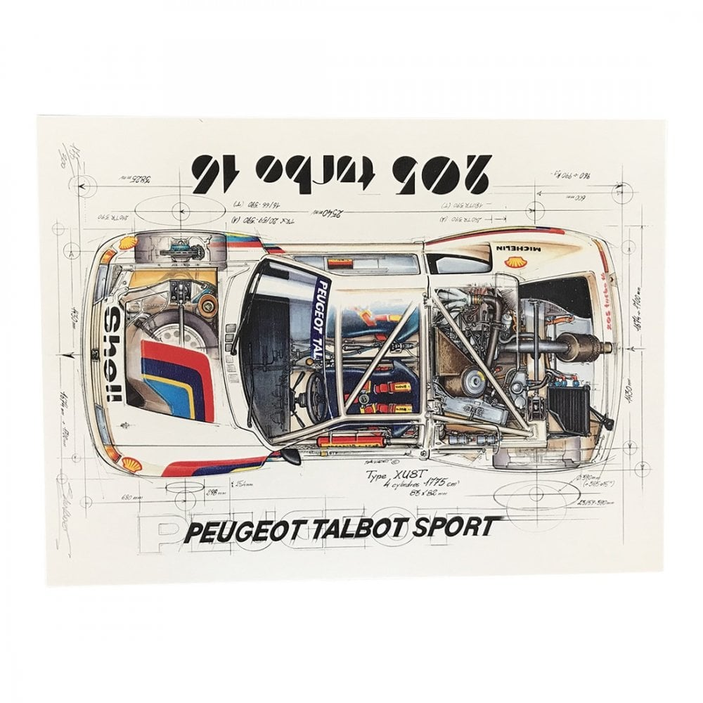 Diagram Of A Peugeot Talbot Sport 205 Turbo 16 Print By