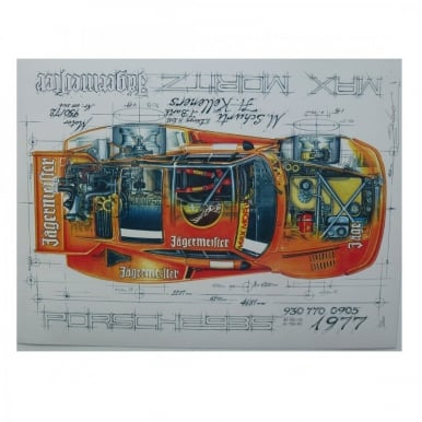 Diagram of a Porsche 935 Max Moritz Jagermesiter 1977 Print by Sebastien Sauvadet