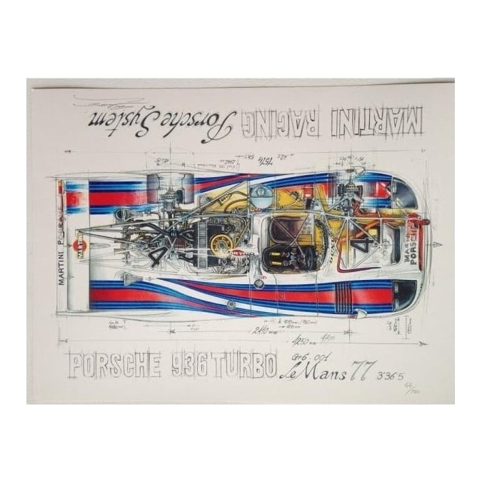 Sebastien Sauvadet Diagram of a Porsche 936 Turbo Martini Racing Gr6 Le Mans 77 by