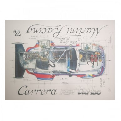Diagram of a Porsche Carrera RSR Turbo Martini Racing by Sebastien Sauvadet