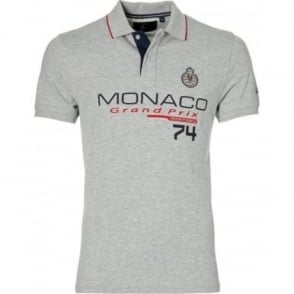 GP Monaco Mens Logo Polo Grey