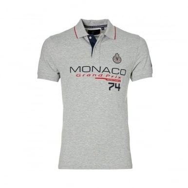 GP Monaco Mens Logo Polo Grey