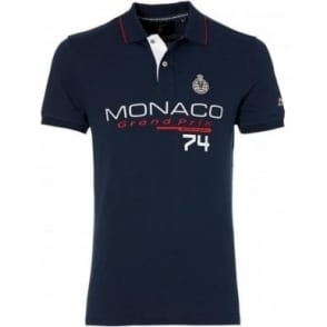 GP Monaco Mens Logo Polo Navy Blue