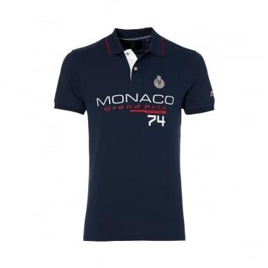 GP Monaco Mens Logo Polo Navy Blue