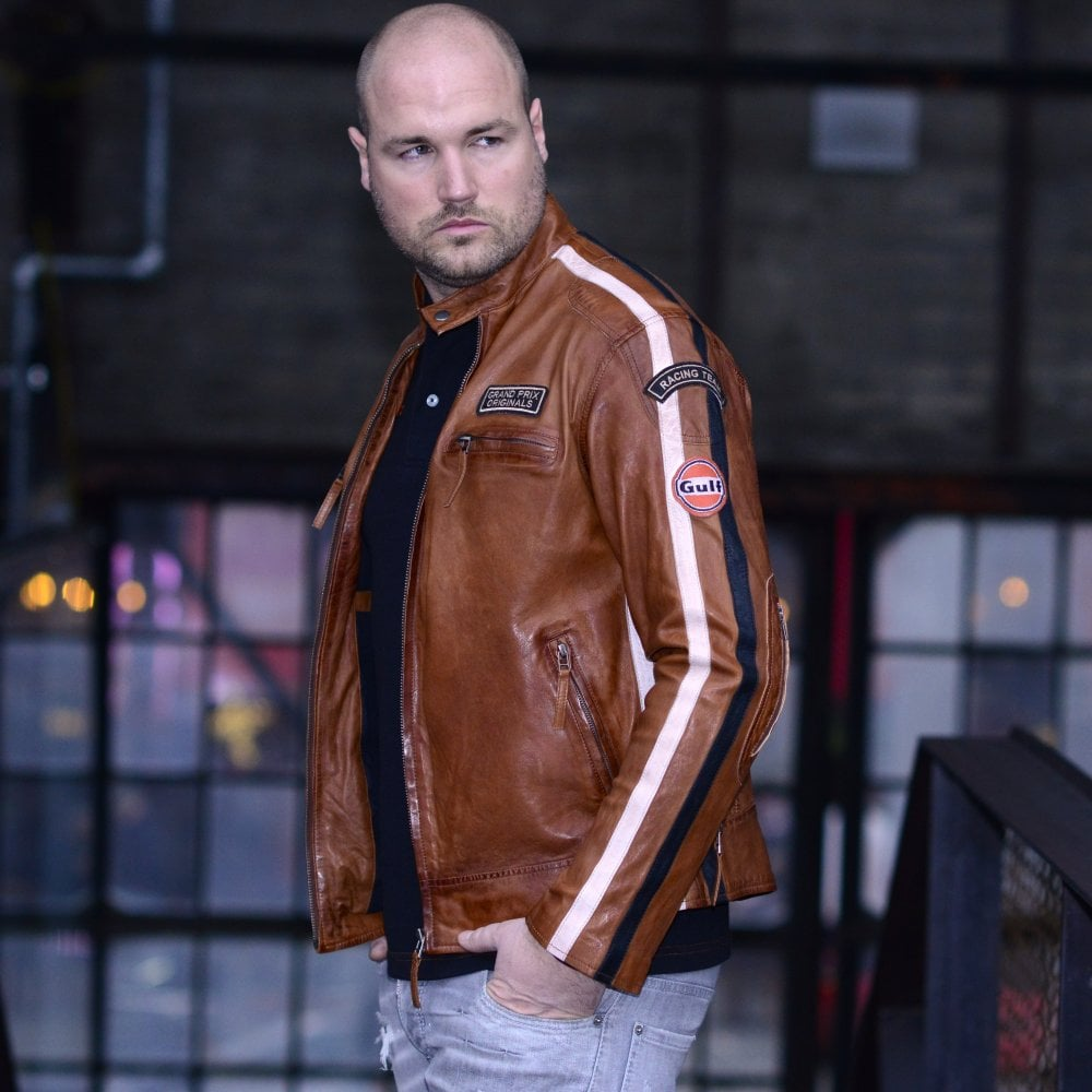 Gulf Racing Jacket Leather Cognac