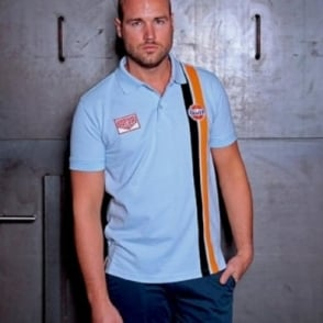 Gulf Stripe Polo Gulf light Blue