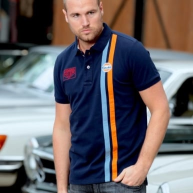 Gulf Stripe Polo Navy Blue