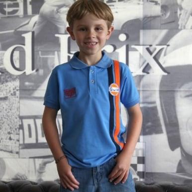 Kids Gulf Stripe Polo Cobalt Blue