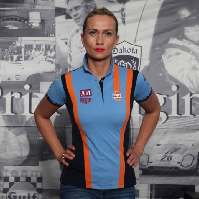 Grandprix Originals Ladies Gulf Racing Team Polo Cobalt