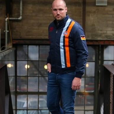 Michael Delaney Blouson Indigo Jacket Interchangeable Flag Patch