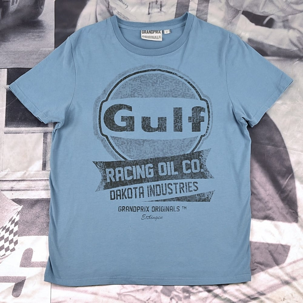 grandprix originals oil racing t shirt gulf blue. Black Bedroom Furniture Sets. Home Design Ideas