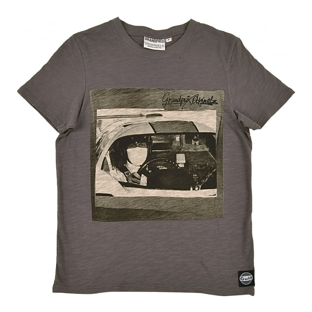 grandprix originals pilot t shirt featuring steve mcqueen grey. Black Bedroom Furniture Sets. Home Design Ideas
