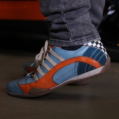 Racing Leather Sneakers Gulf Blue