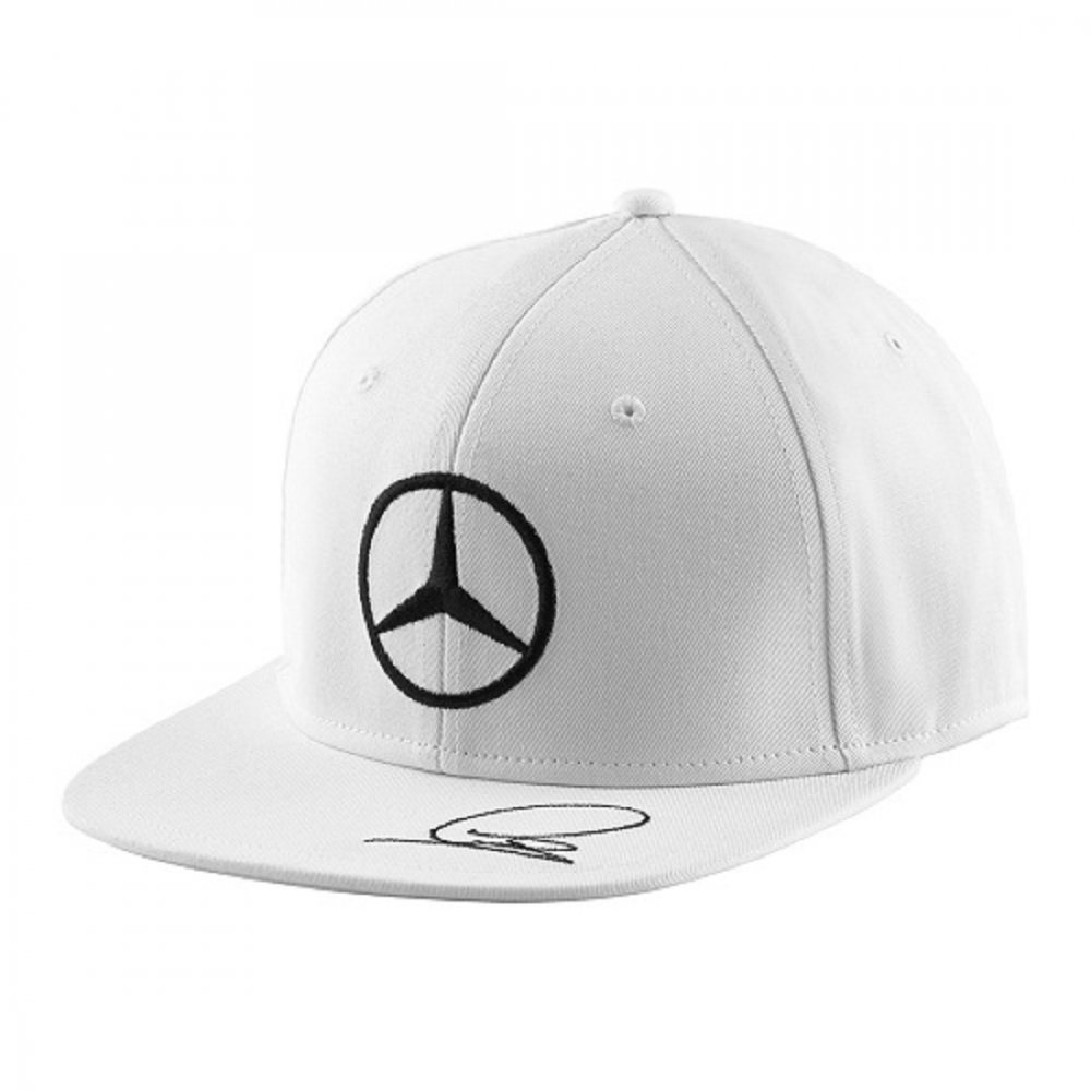 mercedes amg lewis hamilton flat brim cap 2015 white. Black Bedroom Furniture Sets. Home Design Ideas
