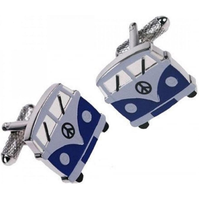 Onyx-Art Blue Camper Van Cufflinks