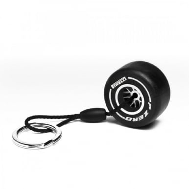 Medium Tyre Keyring (White)