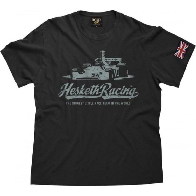 Retro GP OFFICIAL Hesketh 308 Vintage T Shirt Aged Black