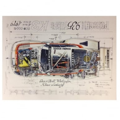 Diagram of a Porsche 935 Turbo- Porsche Kremer Print