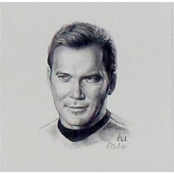 Robert Tomlin Star Trek Captain James T Kirk Portrait 12 x 12cm by