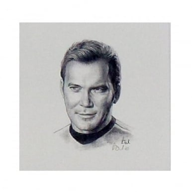 Star Trek Captain James T Kirk Portrait 12 x 12cm by Robert Tomlin