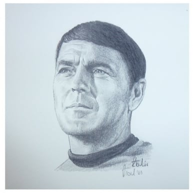 Star Trek Scotty Portrait 12 x 12cm by Robert Tomlin