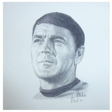 Star Trek Scotty Portrait 12 x 12cm by Robert Tomlin