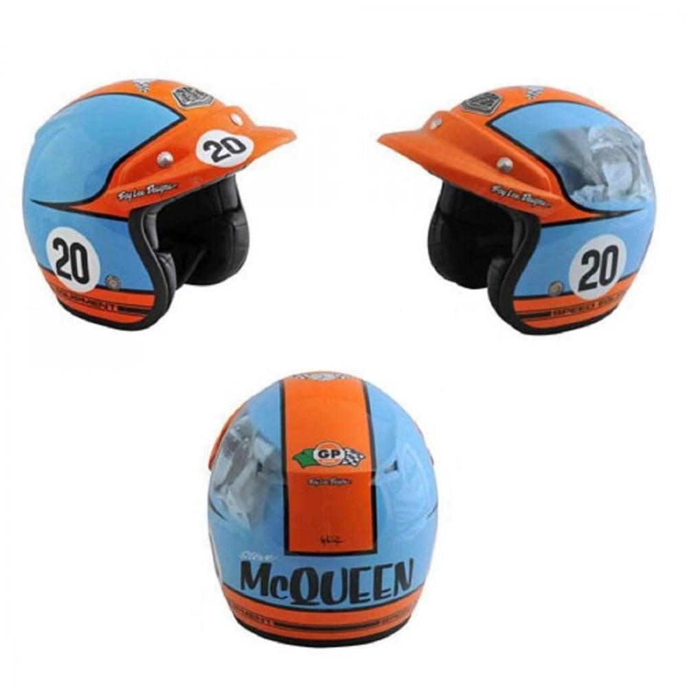 Jaguar Of Troy >> Steve McQueen Open Face Helmet blue and Orange