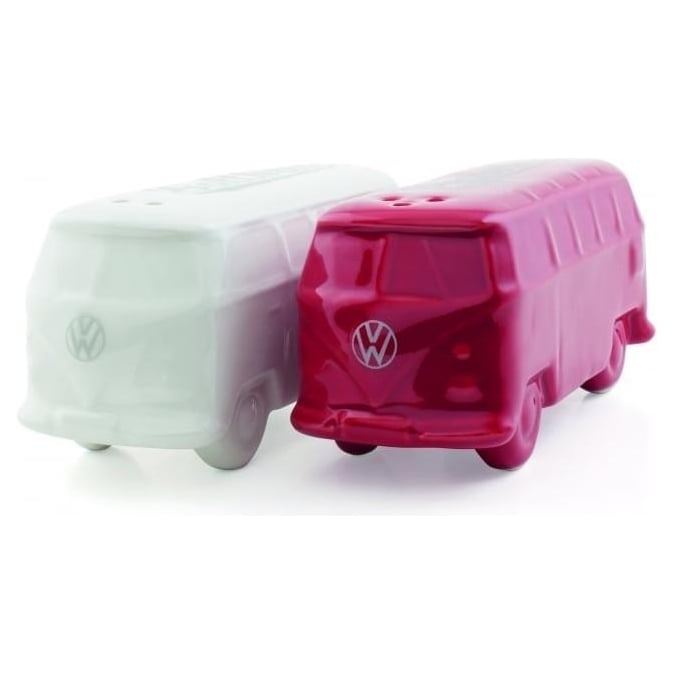 VW Collection by Brisa VW T1 BUS 3D SALT & PEPPER SHAKERS IN GIFT Box - WHITE/RED