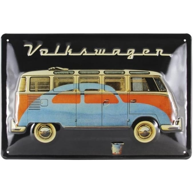 VW Collection by Brisa VW T1 BUS & BEETLE METAL SIGN 30x20cm - BLACK