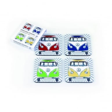 VW T1 BUS COASTERS 4er SET IN PAPER SLEEVE - FRONT/4 COLOURS