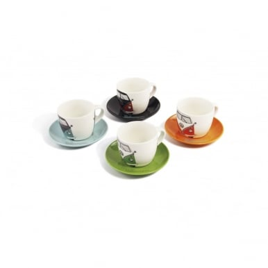 VW T1 BUS ESPRESSO CUP 4ER SET 100 ml IN GIFT Box - FRONT/4 COLOURS