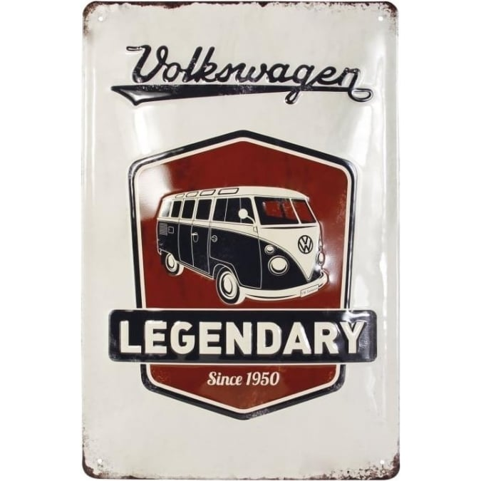 VW Collection by Brisa VW T1 BUS METAL SIGN 20x30cm - VINTAGE LOGO/GREY