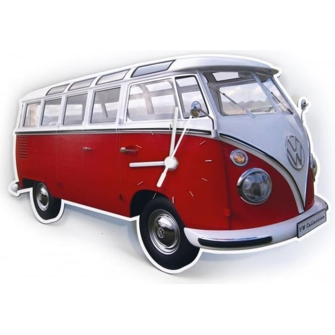 VW Collection by Brisa VW T1 BUS WALL CLOCK 28x18x2,5cm - CLASSIC RED