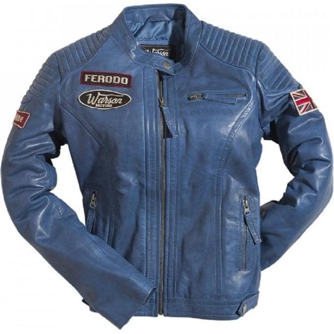 Warson Motors Ladies Grand Prix Leather Jacket - Blue