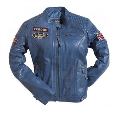 Ladies Grand Prix Leather Jacket - Blue