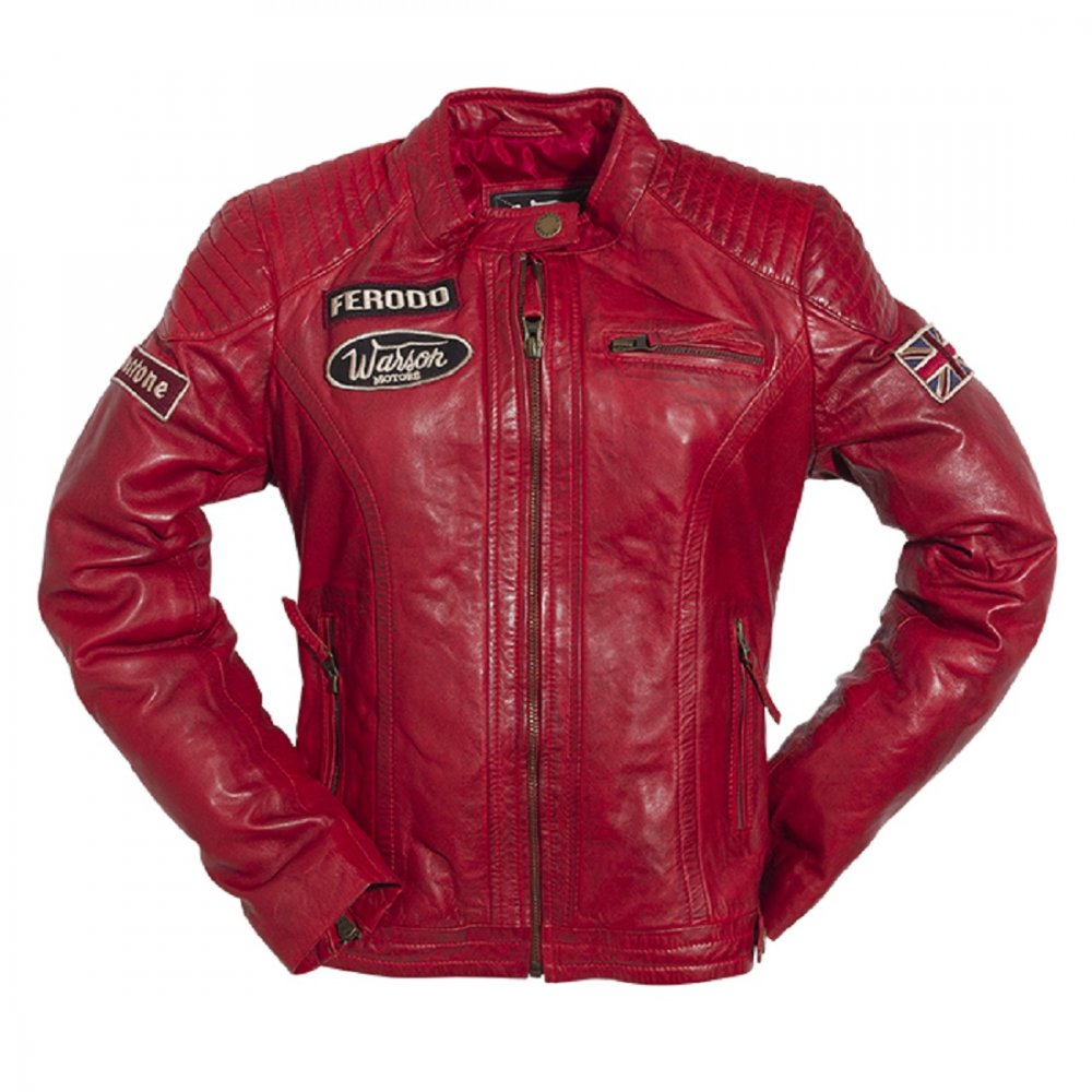Warson motors ladies grand prix leather jacket red for Mercedes benz leather jacket