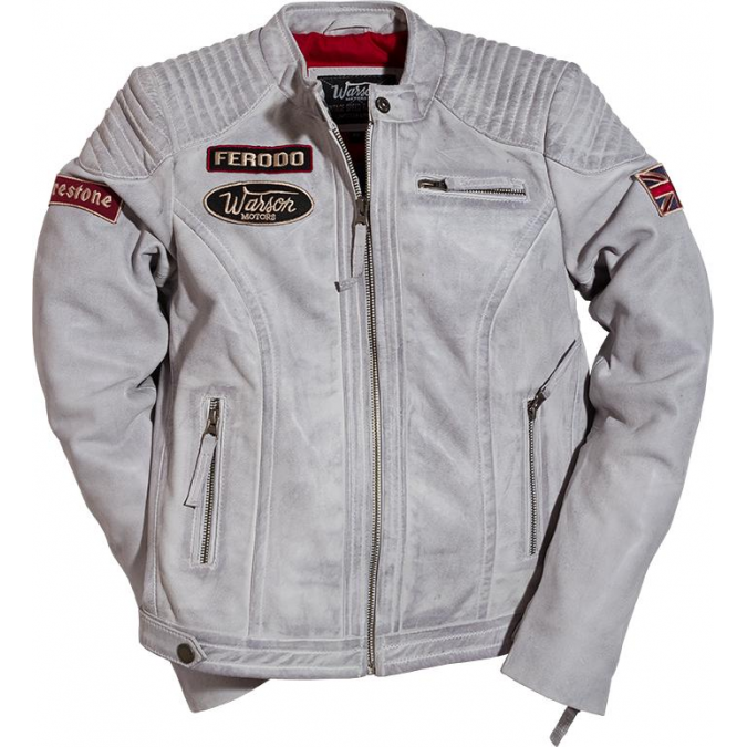 Warson Motors Ladies Grand Prix Leather Jacket Smoke Grey