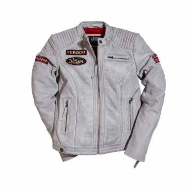 Ladies Grand Prix Leather Jacket Smoke Grey