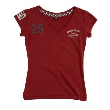 Ladies Sunday Racers T-Shirt Dark Red