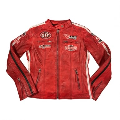 Womens Daytona Red Leather Jacket